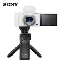 索尼(SONY)ZV-1 Vlog数码相机 白色 手柄电池套装(ZV1)4K视频/美肤拍摄/强悍对焦 Vloger必备