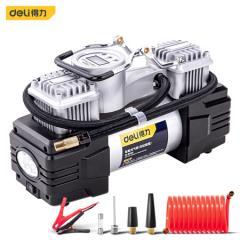 得力(deli)DL8060 车载充气泵预设胎压金属双缸便携式12v打气泵 带灯可测压(赠2.6米延长线)