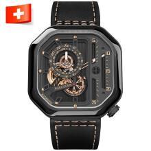艾戈勒(agelocer)瑞士手表 新款时尚全自动镂空机械表 防水轻奢男士腕表 黑金黑皮 5803J3 44MM【明星同款】
